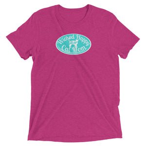 Wicked Happy Cat Mom - Triblend - Aqua Logo