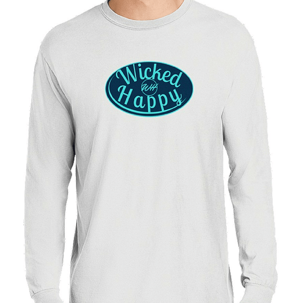 Signature Long Sleeve-White/Navy-Aqua Logo