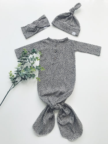 Newborn Gown - Sandy Leopard
