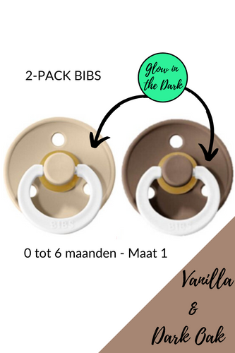 BIBS fopspeen 0-6 maanden - 2 Pack - Vanilla & Dark Oak (glow in the dark)