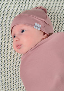 Newborn mutsje - top knot - Dusty Pink ROZE