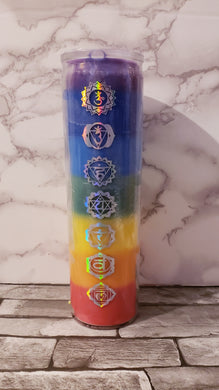 7 color chakras natural candle.