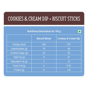 Cookies and Cream Dip with Biscuit Sticks - Pack of 12
