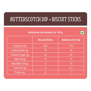 Butterscotch Dip with Biscuit Sticks - Pack of 24