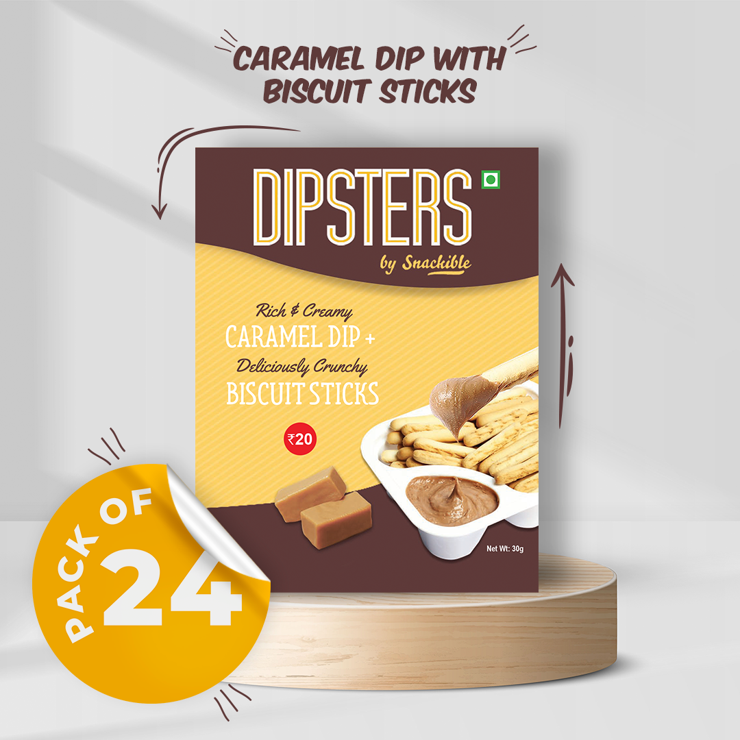 Caramel Dip with Biscuit Sticks - Pack of 24