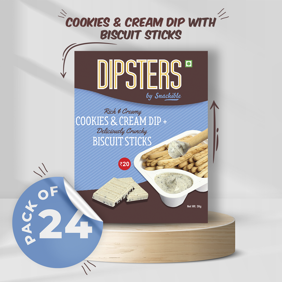 Cookies and Cream Dip with Biscuit Sticks - Pack of 24