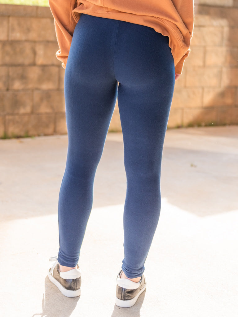 Lace Cut Out Brushed Leggings - Navy