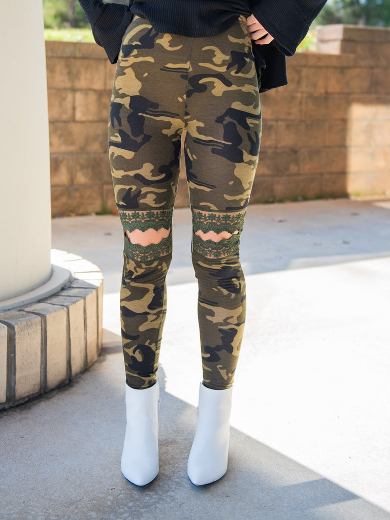 Lace Cut Out Brushed Leggings - Camo