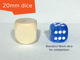 Blank Wooden Dice: Three Sizes