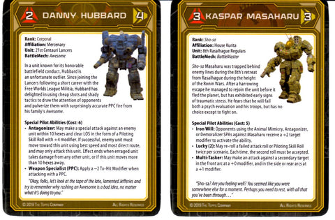 Battletech: Set of 2 Pilot Cards - Kaspar Masaharu and Danny Hubbard