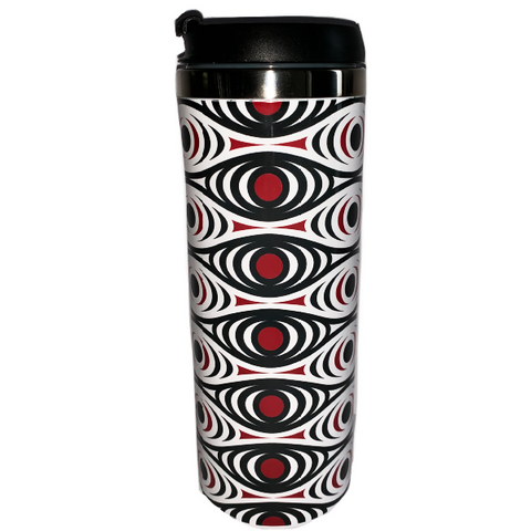 travel tumbler with black and red pattern