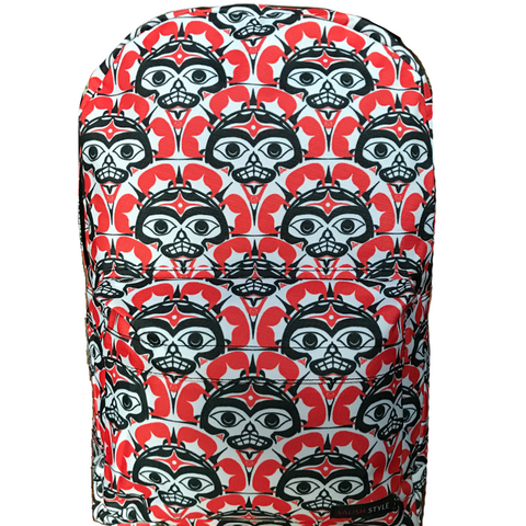 red orange sun pattern backpack