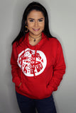 female model in red double headed eagle whorl hoodie