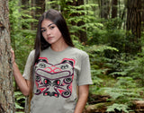 small female model in green bear t-shirt