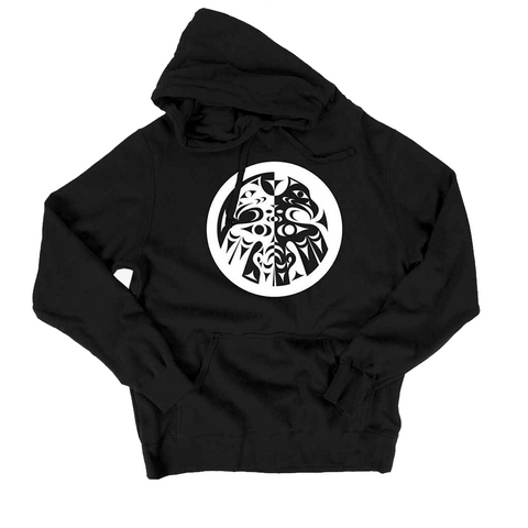 black double headed eagle whorl pullover hoodie sweatshirt