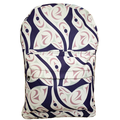 backpack with white hummingbird pattern