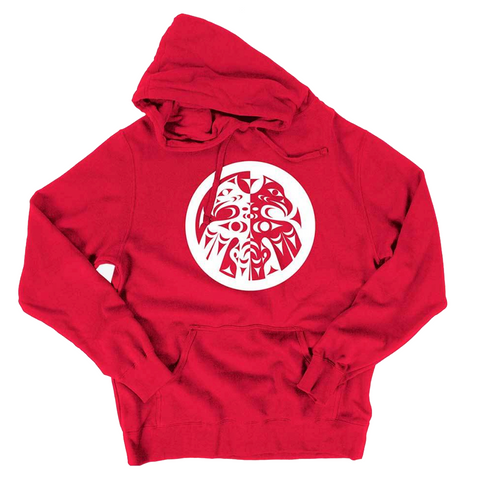 red double headed eagle whorl pullover hoodie sweatshirt