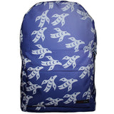 blue backpack with white ravens