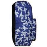 side of blue backpack with white ravens