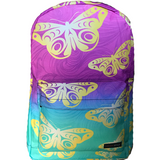 butterfly backpack with pink teal swirl ombre gradient