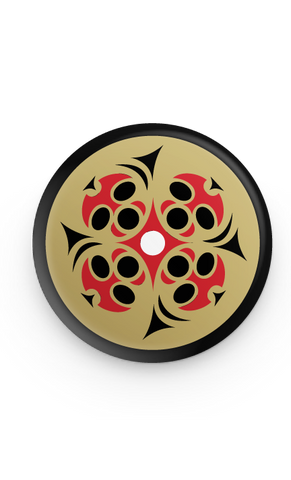 Salish Style moon face in quadrant whorl button pin
