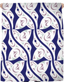 white and navy blue hummingbird pattern throw blanket