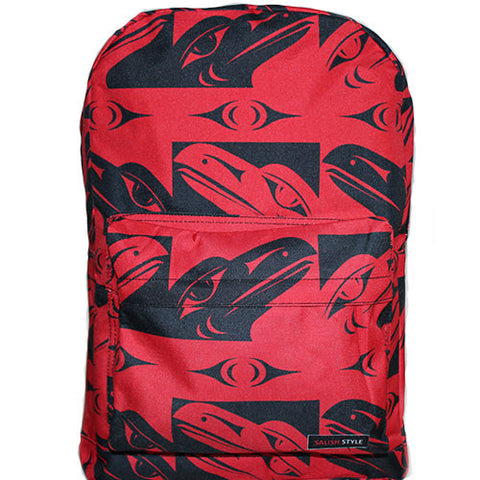 red backpack with raven pattern