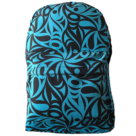 turquoise fish pattern backpack