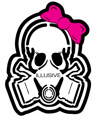 "Sassy lashes and a big pink bow tops off the perfect mount of cute in this 3"" cutie skull sticker. Weather/UV resistant vinyl that maintains appearance."