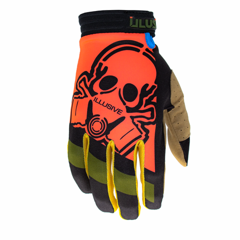 The Lean  L//E Limited Edition glove has a bold orange large Illusive skull badge with olive and black on the tops. Yellow finger webbing and finished off with blue pipping. Desert tan palm w/ reverse Illusive skull silicone logo in black to keep that grip on whatever you be holding.