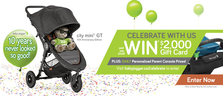 Baby Jogger 10th Anniversary Grand Prize $2000 Gift Card Contest!