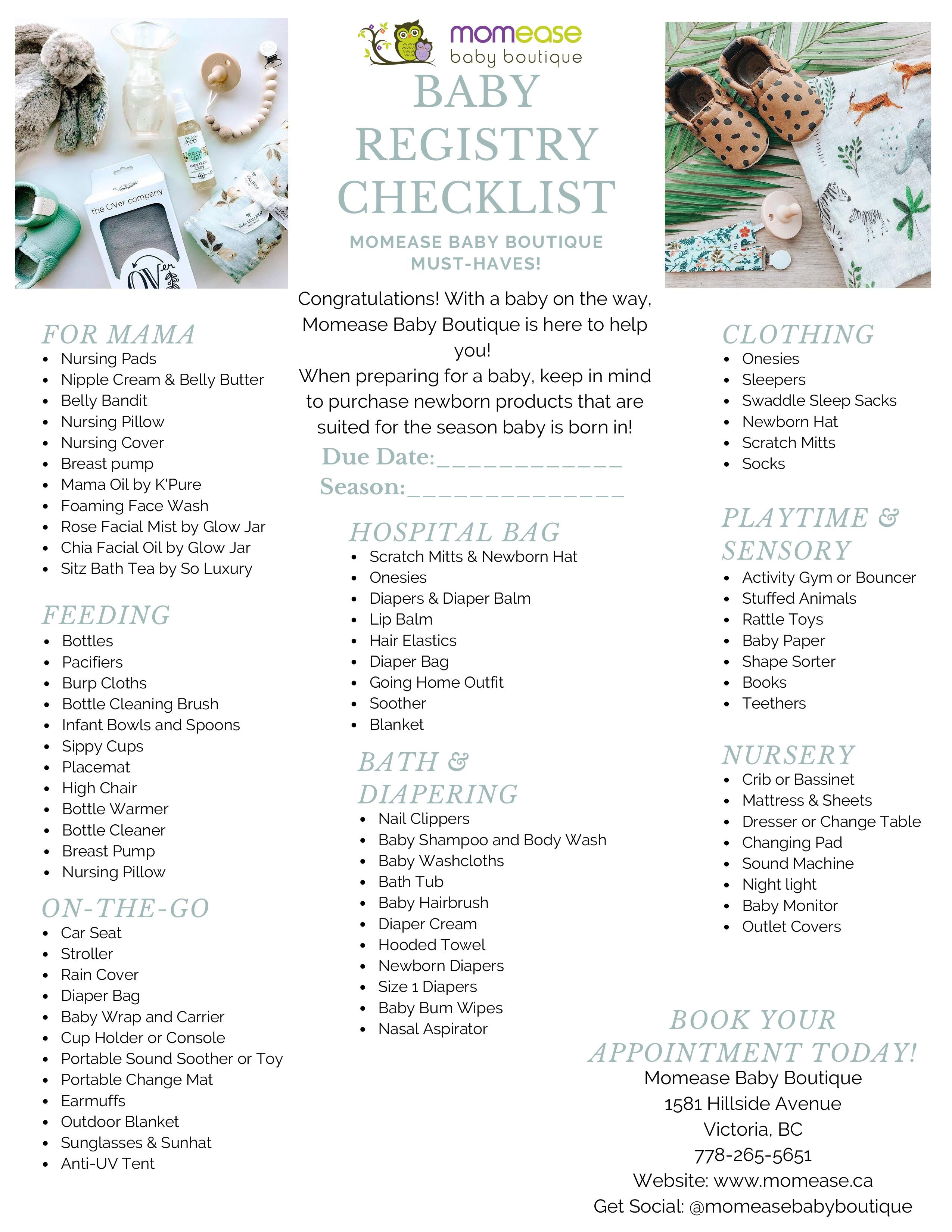 The Momease Must-Haves Baby Registry Checklist