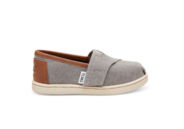 Tiny TOMS Frost Grey Chambray Classics - Side View