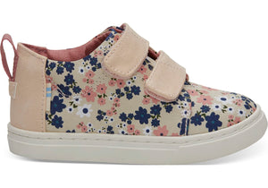 Tiny TOMS Lenny Mid Sneakers - Birch Retro Floral Side