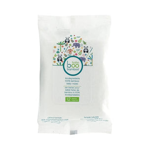 Boo Bamboo Biodegradable 100% Bamboo Baby Wipes - 12 Wipes