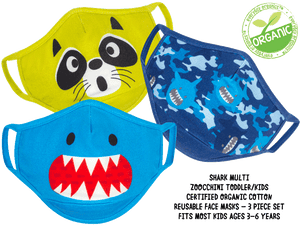 Zoocchini Organic Kids Reusable Face Mask 3 PK - Shark