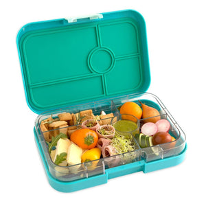 Yumbox Tapas 5-Compartment Food Tray - Antibes Blue Open with Food