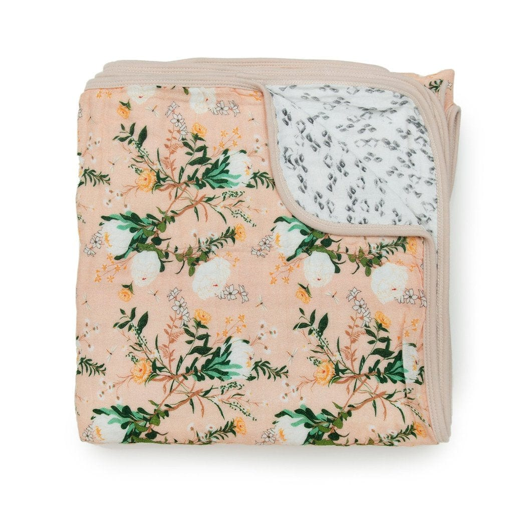 Loulou Lollipop Luxe Muslin Quilt Blanket - Blushing Protea