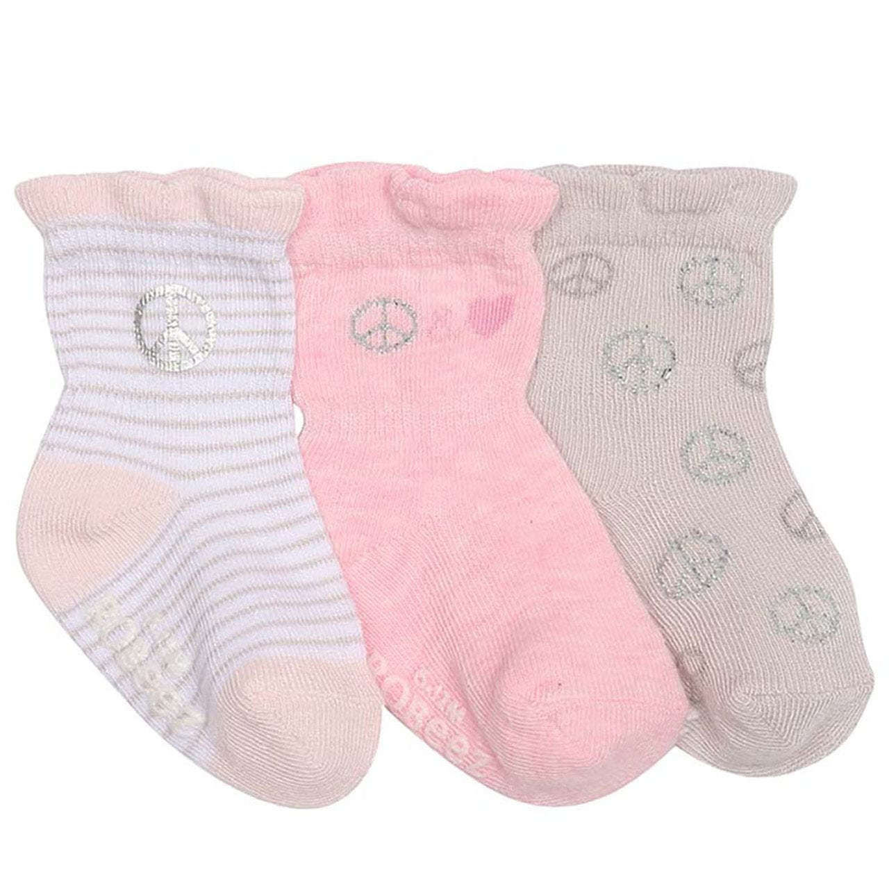 Robeez Non-Skid Socks 3 PK - Peace and Love