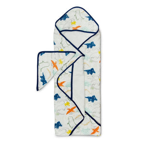 Loulou Lollipop Hooded Towel and Washcloth Set - Dinoland