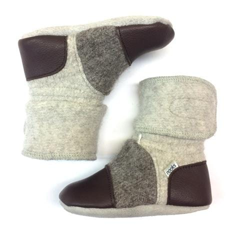 Nooks Design Felted Wool Booties - Driftwood