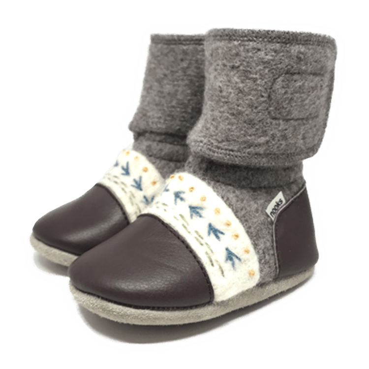 Nooks Design Felted Wool Booties - Caribou