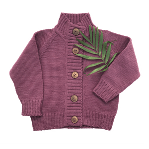 Nooks Design Merino Wool Cardigan - Plum