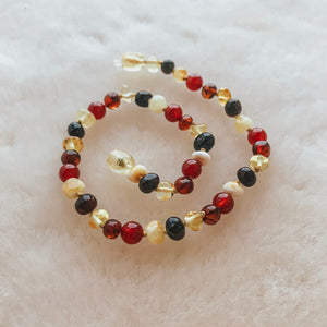 Healing Amber Baltic Amber and Gemstone Necklace - Multi Amber and Red Agate