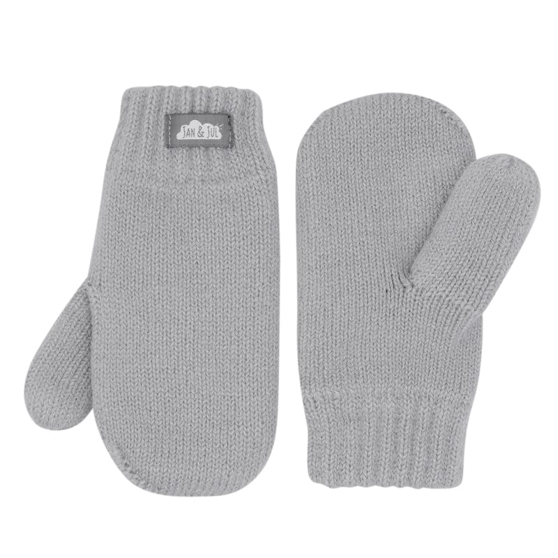 Jan & Jul Insulated Knitted Mittens - Light Grey Small