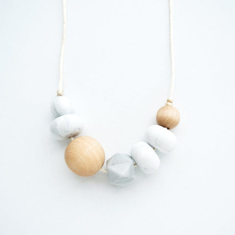 Loulou Lollipop Freda Wood and Silicone Teething Necklace - Marble Grey