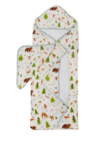 Loulou Lollipop Hooded Towel and Washcloth Set - Forest Friends