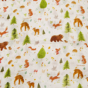 Loulou Lollipop Luxe Muslin Swaddle - Forest Friends Detail