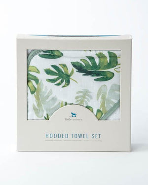 Little Unicorn Hooded Towel and Washcloth Set - Tropical Leaf Boxed