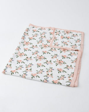 Little Unicorn Muslin Cotton Big Kid/Adult Quilt - Watercolor Roses